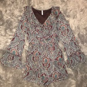 Xhilaration brown paisley patterned romper